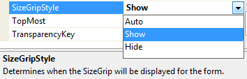 Windows Form's SizeGripStyle property