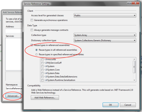 The new Advanced settings dialog for Add Service Reference in Visual Studio 2008