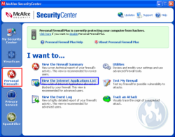 Another skinned UI for a software firewall