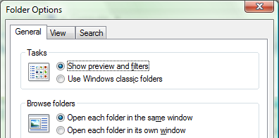 Folder Options on Vista