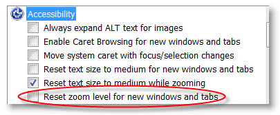 IE8 Zoom Setting