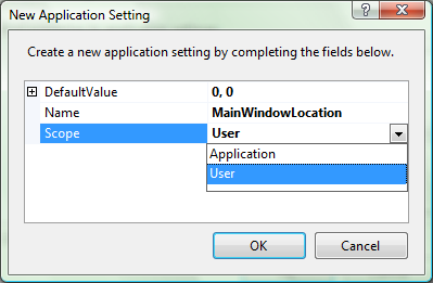 New Application Setting Dialog
