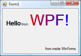 WPF inside a Windows Form