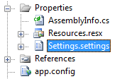 The Settings.settings file under the Properties folder