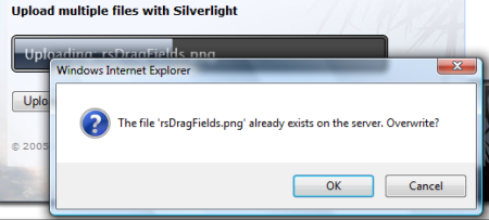 If the file already exists on the server, the user is prompted to overwrite