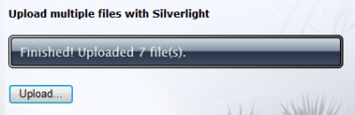 Finshed! control shows how many files were uploaded
