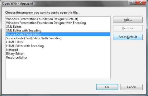 Using the Source Code Editor for XAML in Visual Studio