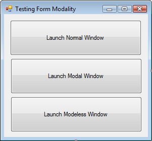 Test form with three buttons - Launch Normal, Launch Modeless, Launch Modal