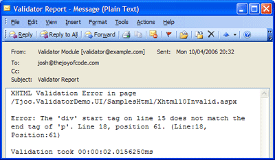 example e-mail from the smtp renderer